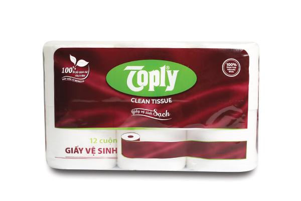 Toply giấy vệ sinh có lõi 12 cuộn 2 lớp