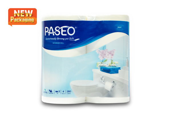 Paseo Bathroom roll 4 rolls 3 ply (Plain)