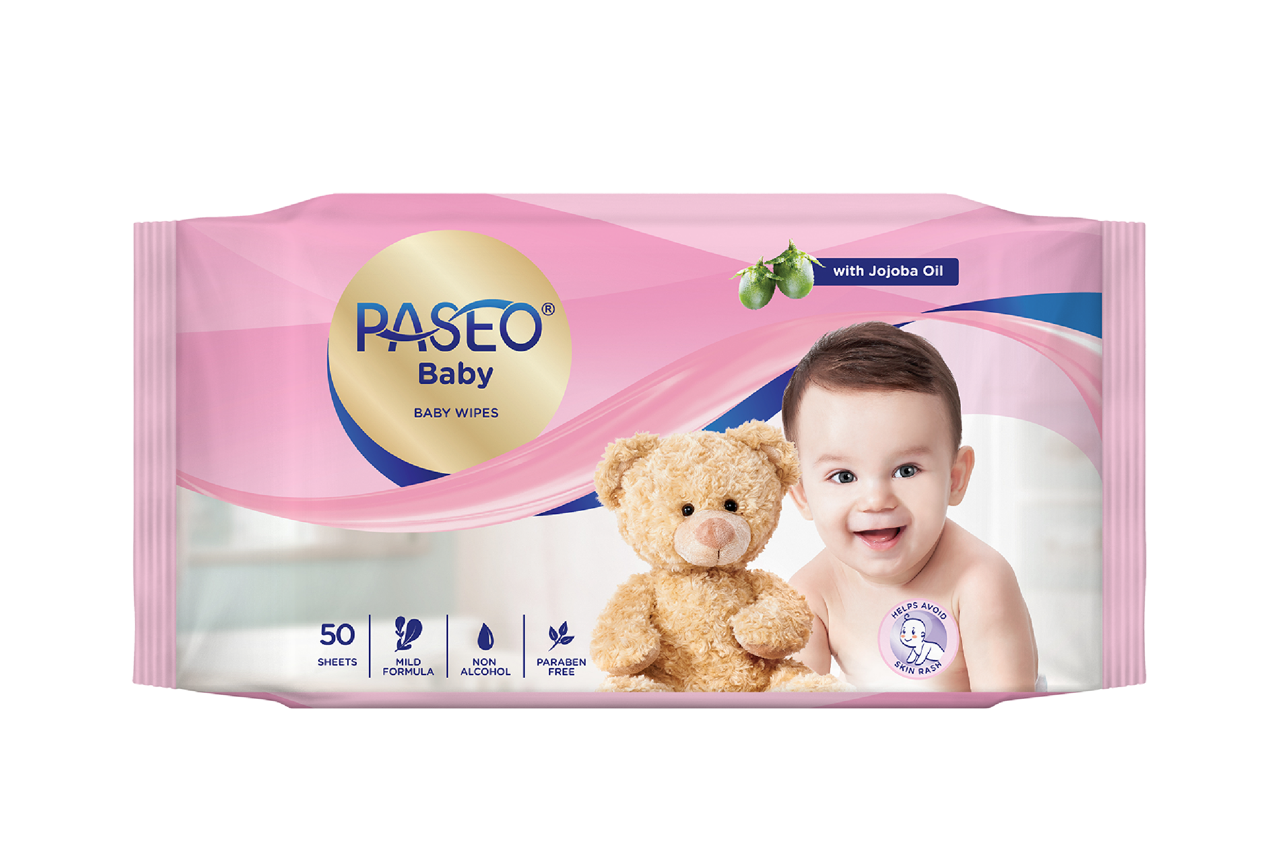 Khăn ướt em bé Paseo 50 tờ - Hương jojoba