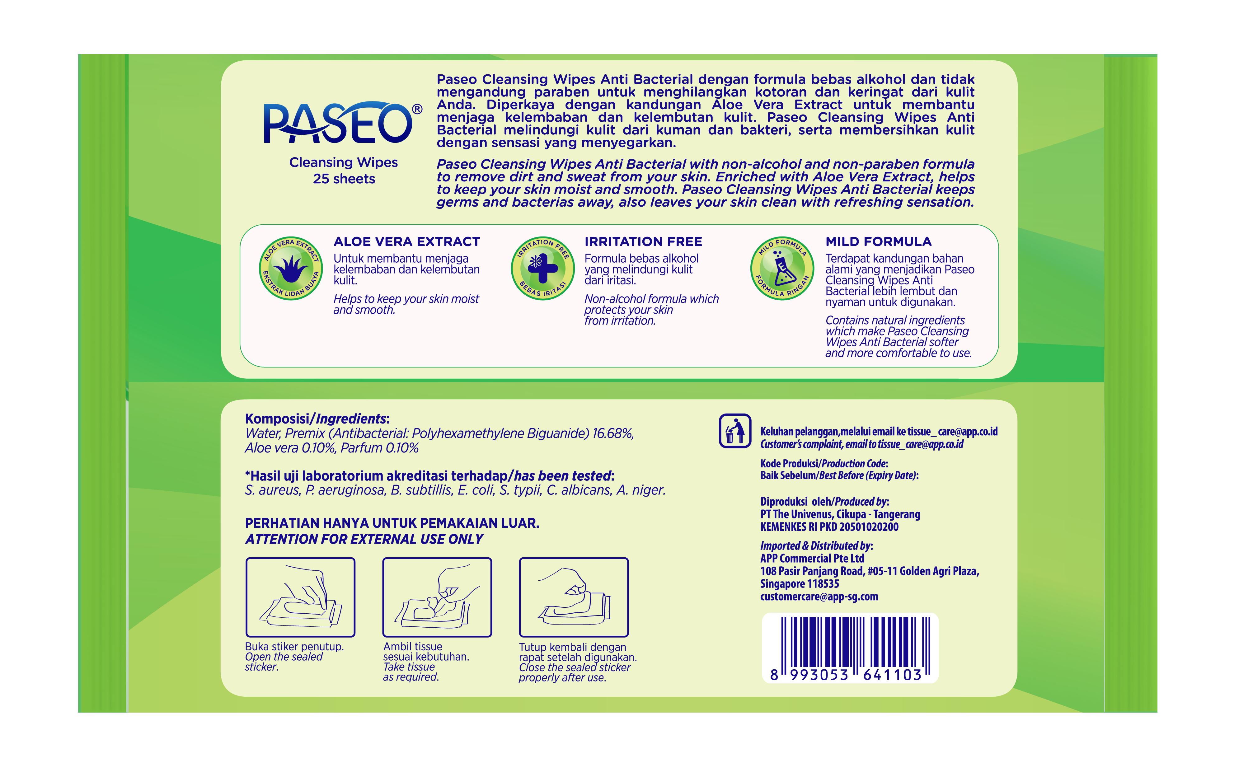 Khăn ướt Paseo kháng khuẩn 25 tờ - Hương lô hội